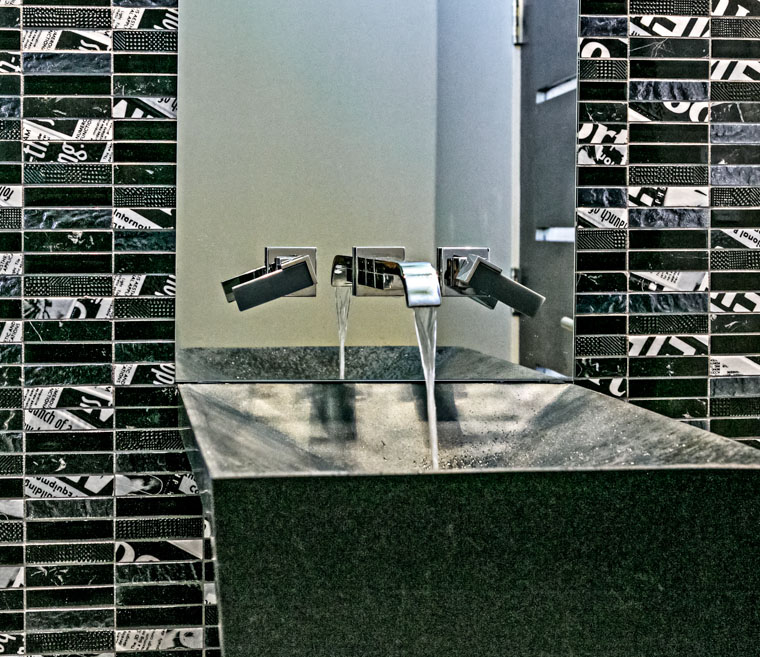 modern tiles on bathroom sink
