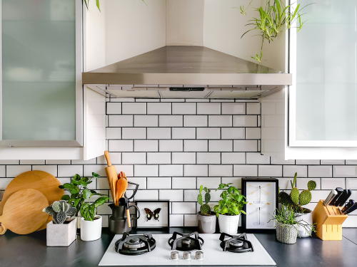 white subway tiles in kitchen